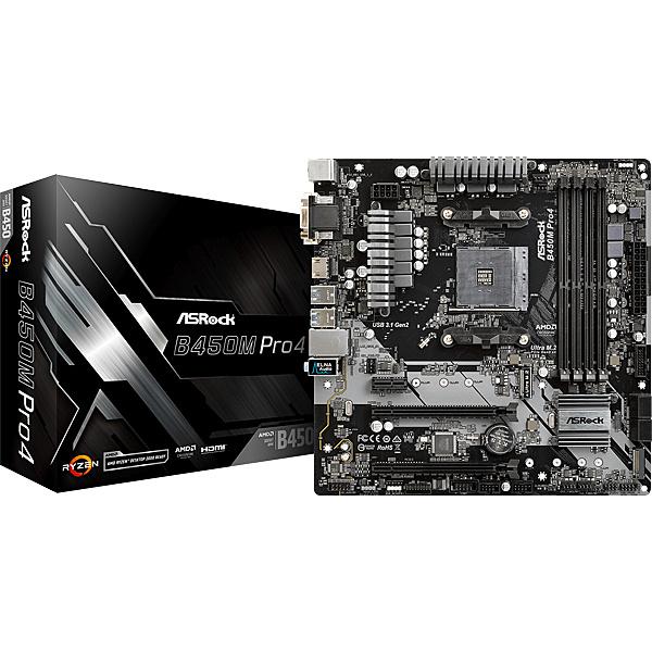 【送料無料】ASRock B450M Pro4 AMD B450チップセット搭載 MicroATXマザーボード【在庫目安:お取り寄せ】| パソコン周辺機器 マザーボード マザボ メインボード システムボード ロジックボード 交換 自作パソコン 自作PC 自作 マザー ボード パソコン PC