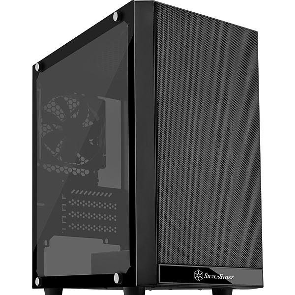 【送料無料】SilverStone SST-PS15B-G ミニタワーケース ブラック+強化ガラス製ウィンドウ【在庫目安:お取り寄せ】