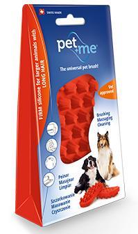 供宠物和我橡胶刷子狗、长毛使用的红 ○