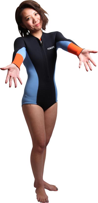 ウェットスーツ レディース ジャージ オーダー ロングスプリング 2mm sup ヨガ サーフィン フロントファスナー 日本製 swipe wetsuits