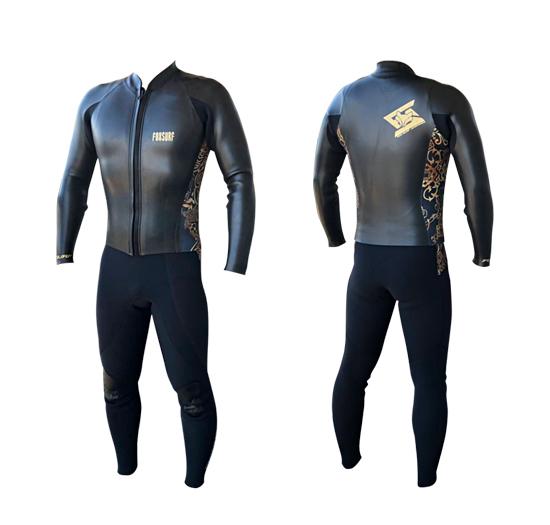 老舗ブランド FOX WETSUITS ロングジョンと長袖ジャケットのセット フォックスウェットスーツ 日本製 サーフィン フルオーダー可 クラシックモデル