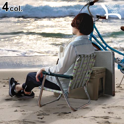 送料無料 折りたたみ 椅子 アウトドア おしゃれ 【あす楽14時まで】 Lawn Chair LOW BACK BEACH CHAIRローン チェア ロー バック ビーチ チェア イス デッキチェア キャンプ アンティーク 収納◇レトロ アメリカ 軽量 コンパクト