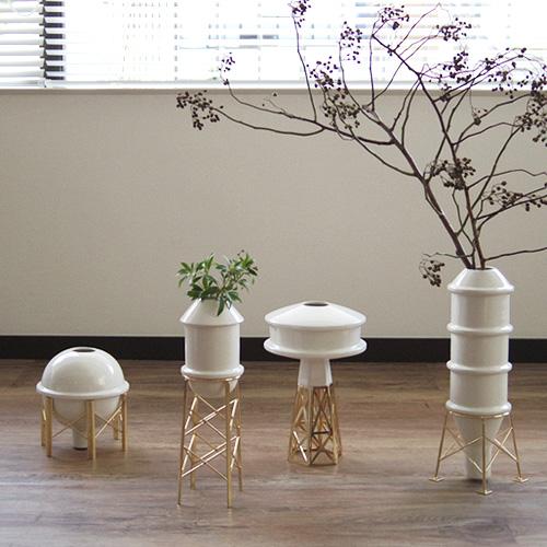 花瓶 陶器 白 北欧 フラワーベース【あす楽14時まで】 送料無料BOZU インダストリーコレクション