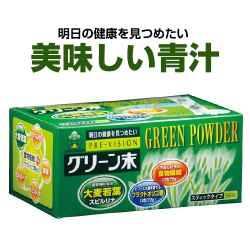 美味しい青汁『プレビジョン グリーン末 6個セット』 大麦若葉グリーン末 湧永製薬
