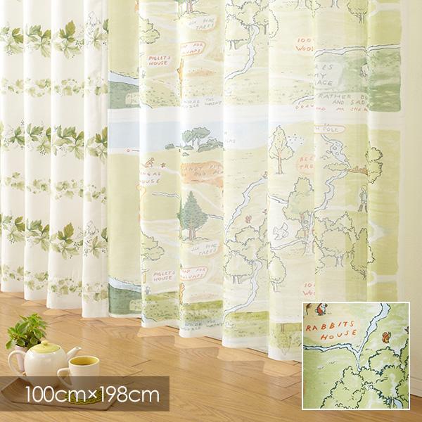 既製カーテン ディズニー 「クラシックプー 100エーカーの森」 100×198cm シアーカーテン