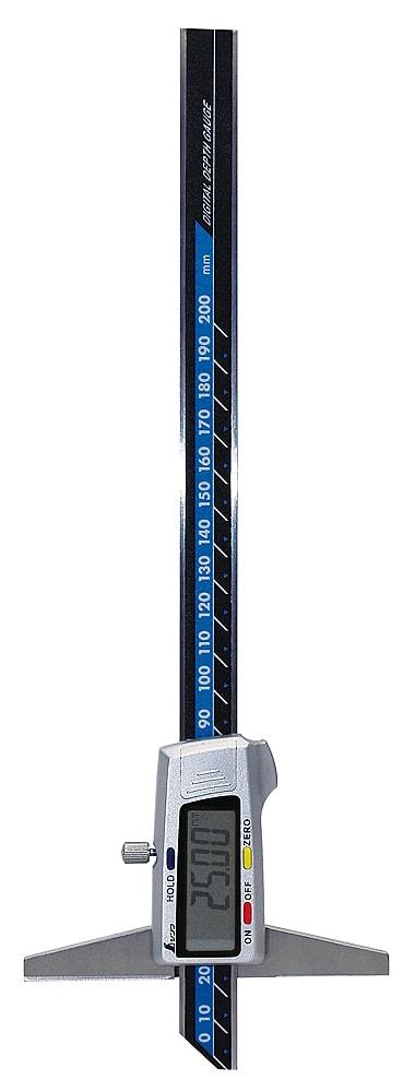 【ポイント2倍!エントリーで6倍 ~4/16 01:59限定】 シンワ測定 デジタルデップスゲージ 200mm ホールド機能付 19307