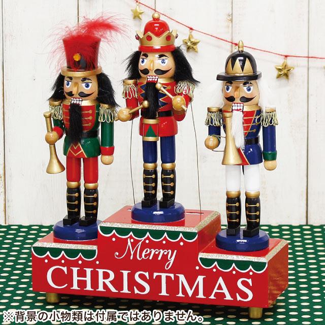 クリスマス オーナメント 木製 ナッツクラッカーオブジェ オルゴール