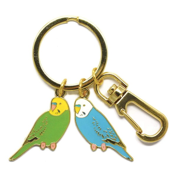 送料無料ライン対応ショップ  ピ キャラクター グッズ 鳥 小鳥 コレクション キーホルダー キーリング 鍵 pi: 鳥 2連キーリング(セキセイインコ) RB-KR003