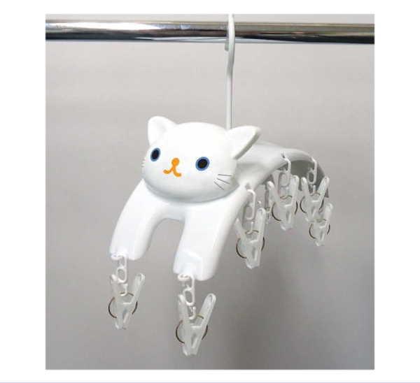 送料無料ライン対応ショップ ねこ キャラクター ランドリー 洗濯 ネコ 子猫 ME08 ハンガー ねこの洗濯ばさみハンガー シロ 国産品 猫 正規品 クリップ 洗濯バサミ