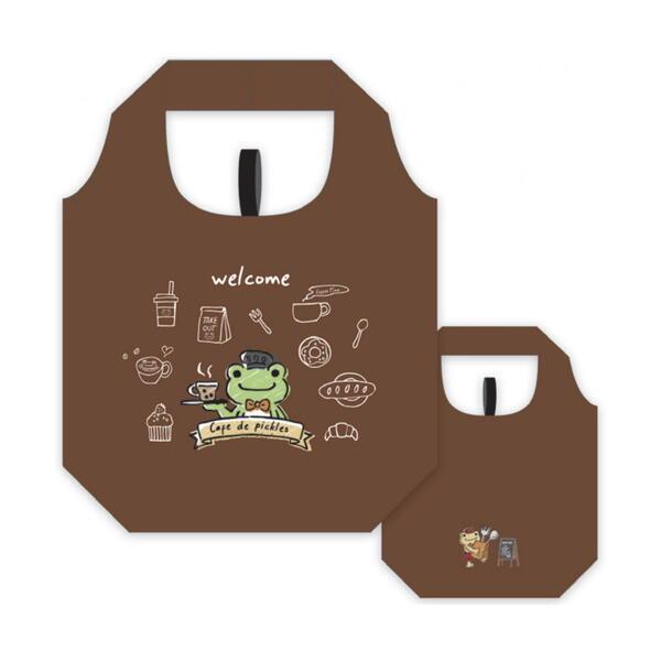 送料無料ライン対応ショップ 爆安 かえるのピクルス キャラクター グッズ エコバッグ マイバッグ コンパクト Frog カフェ店員 当店は最高な サービスを提供します 軽量 Pickles the PC-EB011