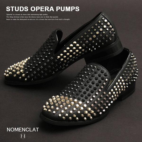 スタッズ オペラ パンプス メンズ シューズ スリッポン 靴 ホスト V系 ヴィジュアル系 パンク ロック モード ストリート ラッパー ヒップホップ ダンス 衣装 Studs Opera Pumps Men Shoes Slippers Visual System Punk Rock Mode Street Rapper Hip Hop Dance