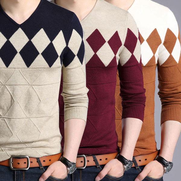 メンズ ニット Vネック セーター 全3色 メンズファッション トップス きれい目 彼氏 男性 men's
