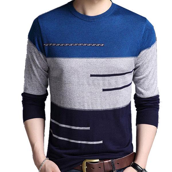 メンズ ニット クルーネック セーター スリムフィット 全2色 メンズファッション トップス きれい目 彼氏 男性 men's