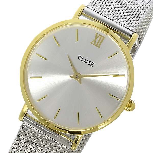 腕時計 レディース クルース CLUSE ミニュイ メッシュベルト 33mm CL30024 ゴールド/シルバー シルバー