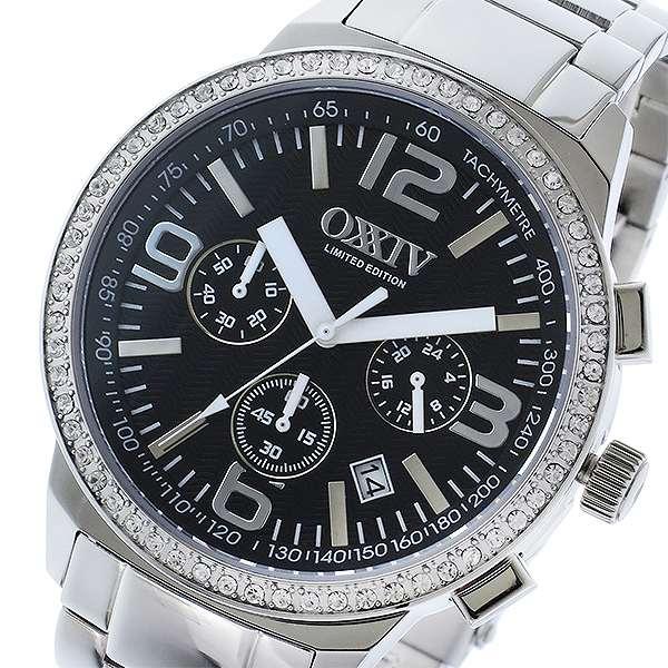 腕時計 メンズ オクシブ OXXIV クロノ クオーツ OX24-BK ブラック/シルバー ブラック