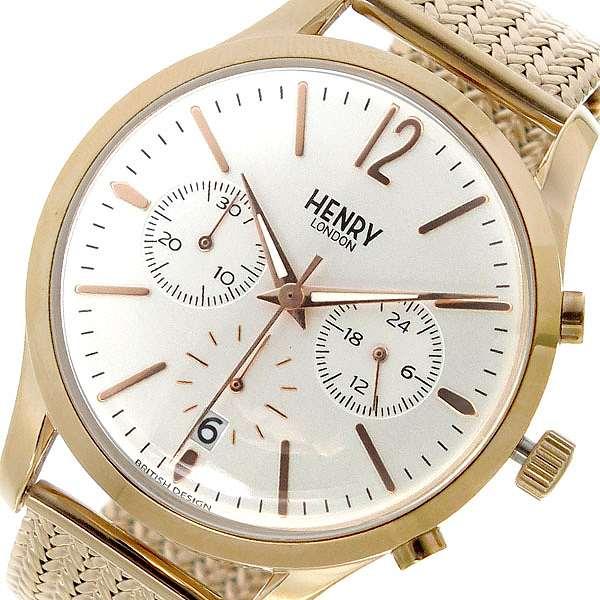 腕時計 レディース ヘンリー ロンドン HENRYLONDON クロノ クオーツ HL39-CM-0034 ホワイトシルバー ホワイト