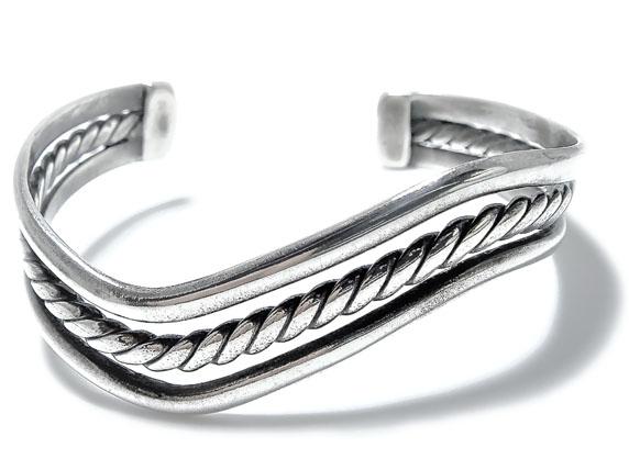 シルバーバングル ロープデザイン シンプル/シルバー925/銀/ブレスレット