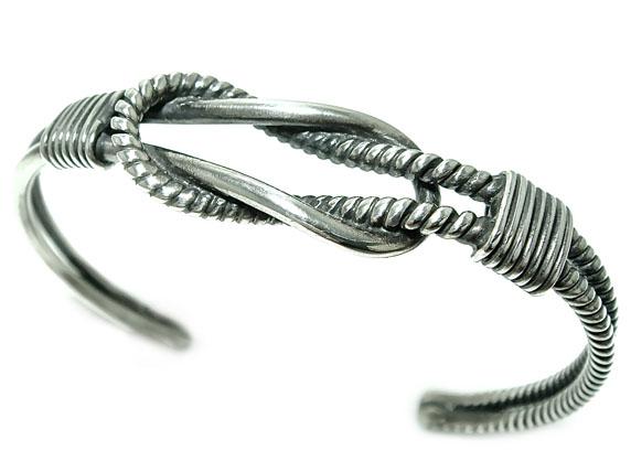 シルバーバングル ロープ縄デザイン シンプル/シルバー925/銀/ブレスレット