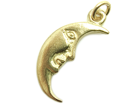 18K無垢 ペンダントトップ・18金・コイン メダル ネックレス シンプル 月 太陽 三日月 顔