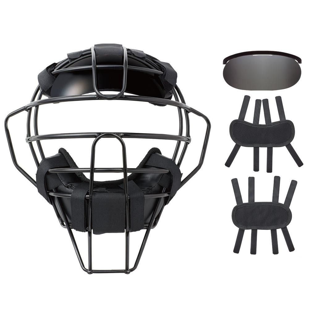 球審用マスク プレミアムモデル 硬式 軟式両用マスク 4点セット ブラック BX83-76