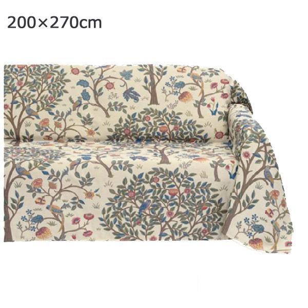 川島織物セルコン Morris Design Studio ケルムスコットツリー マルチカバー 200×270cm HV1722 BE ベージュ