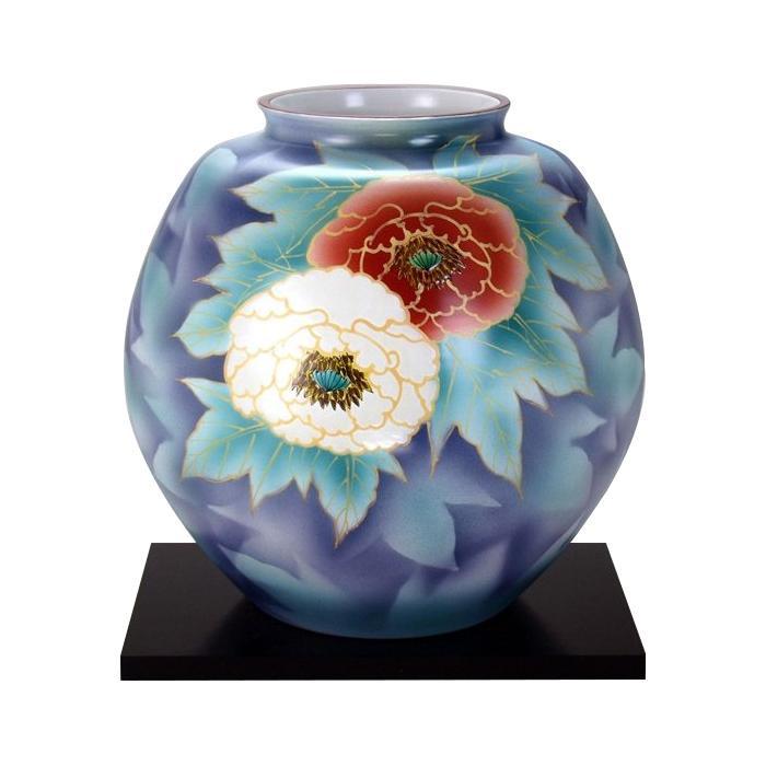 九谷焼 万作作 10号花瓶 紅白牡丹 N178-02