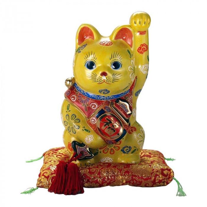 九谷焼 8号小槌持招猫 黄盛 N193-08