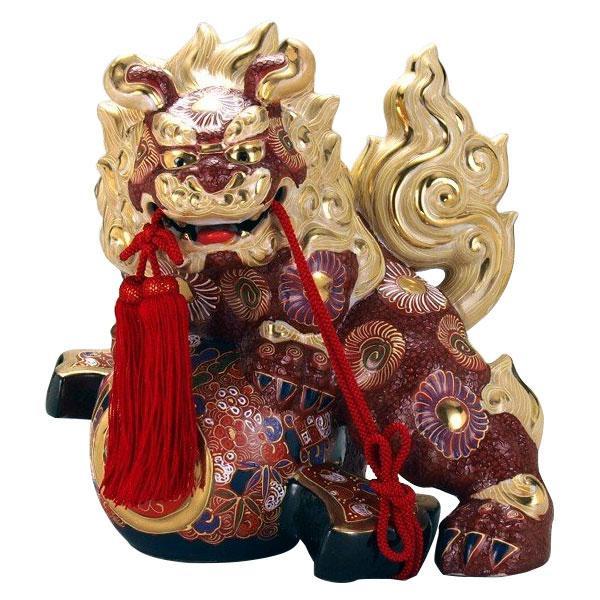 九谷焼 10号小槌獅子 盛 N194-14