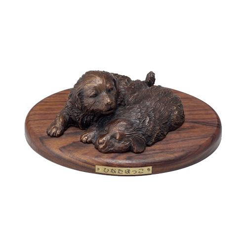 高岡銅器 銅製置物 洋風 群順治作 木台付 ひなたぼっこ 19-05