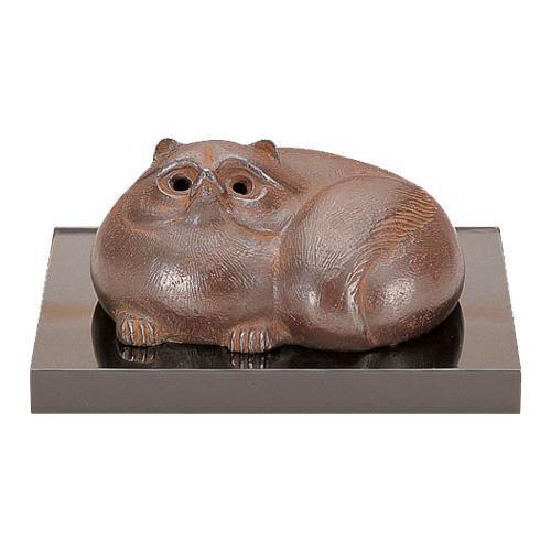 高岡銅器 銅製置物 津田永寿作 木製塗板付 壷香炉 32-06
