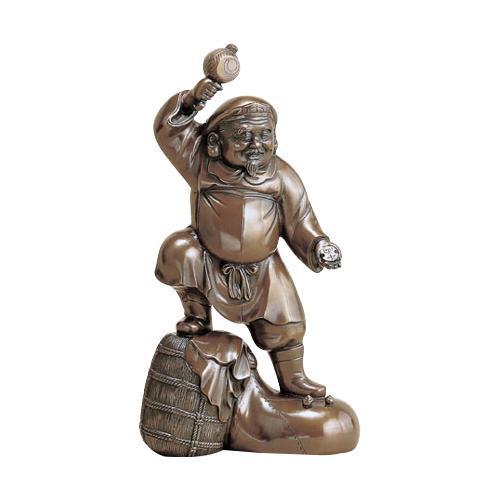高岡銅器 銅製置物 越山栄山作 上味色 千両大黒 12号 39-03