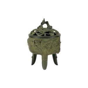 高岡銅器 香炉 名取川雅司作 龍文 青銅色 127-02