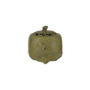 高岡銅器 香炉 名取川雅司作 松鶴文 青銅色 127-03