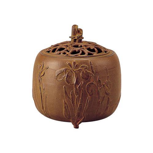 高岡銅器 香炉 名取川雅司作 杜若文 青銅色 127-04