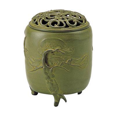 高岡銅器 香炉 名取川雅司作 三友文 中 青銅色 127-06