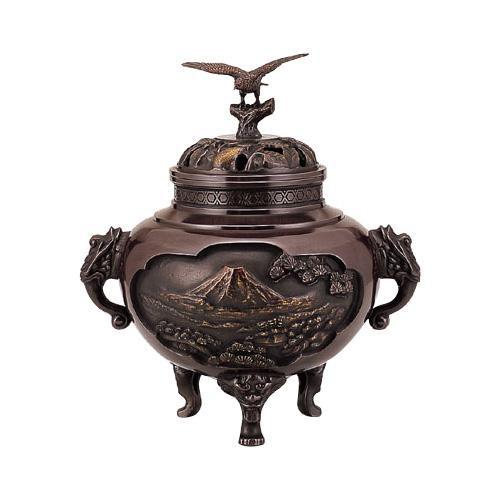 高岡銅器 香炉 壱不二弐鷹参茄子 香炉 130-02
