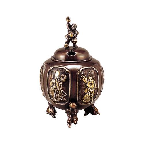 高岡銅器 香炉 七福神六面間取香炉 漆びきメッキ 130-07