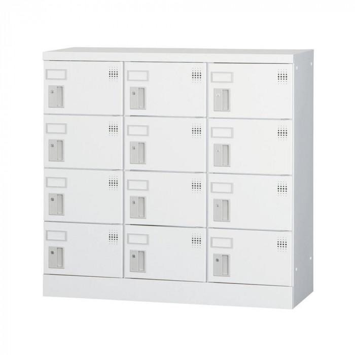 豊國工業 多人数用ロッカーロータイプ 3列4段 シリンダー錠 GLK-S12 CN-85色 ホワイトグレー