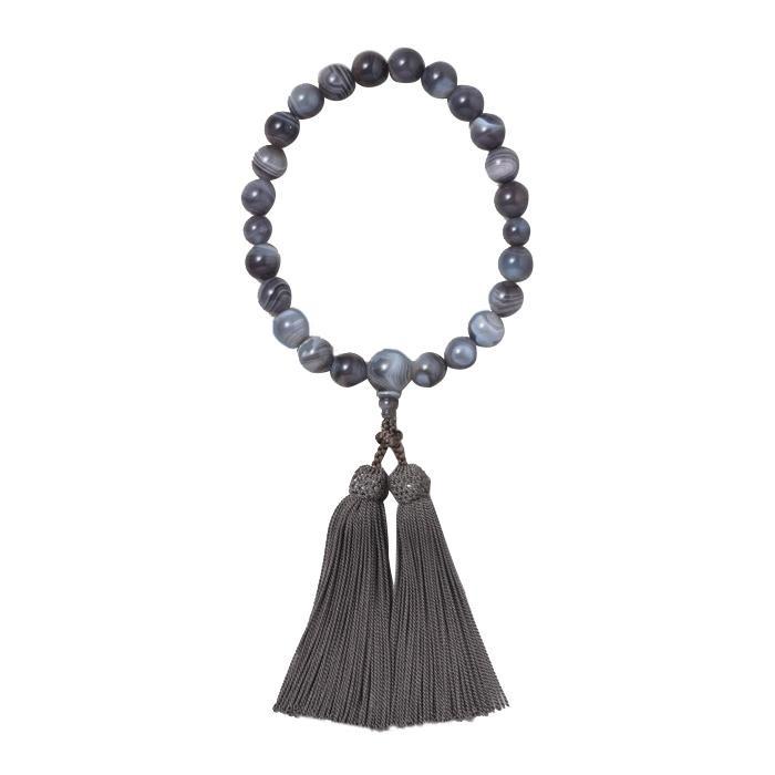 京 六条 彩や 日本製数珠 男性用 原色縞メノウ グレー 952583322010