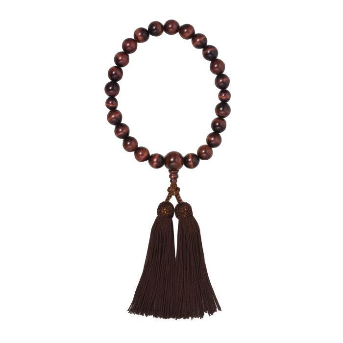 京 六条 彩や 日本製数珠 男性用 赤虎目石 ブラウン 952542322010
