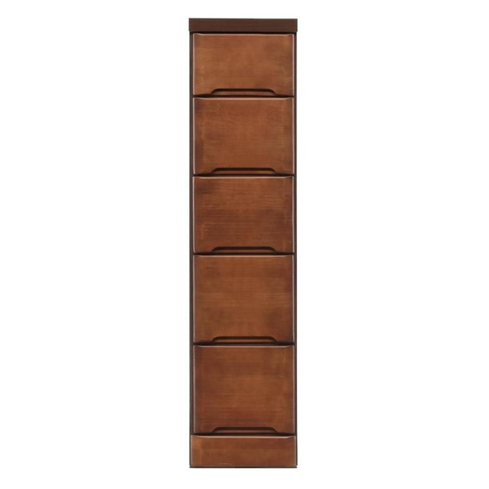 クライン サイズが豊富なすきま収納チェスト ブラウン色 5段 幅25cm
