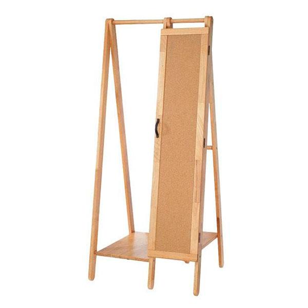 鏡付きハンガーラック 木製 コンパクト 姿見鏡付きハンガーラック