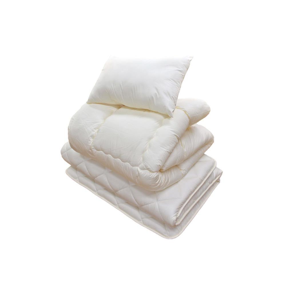 防ダニ・抗菌防臭・吸汗速乾わた使用 ふとん3点セット 掛ふとん、3層硬綿敷ふとん、枕