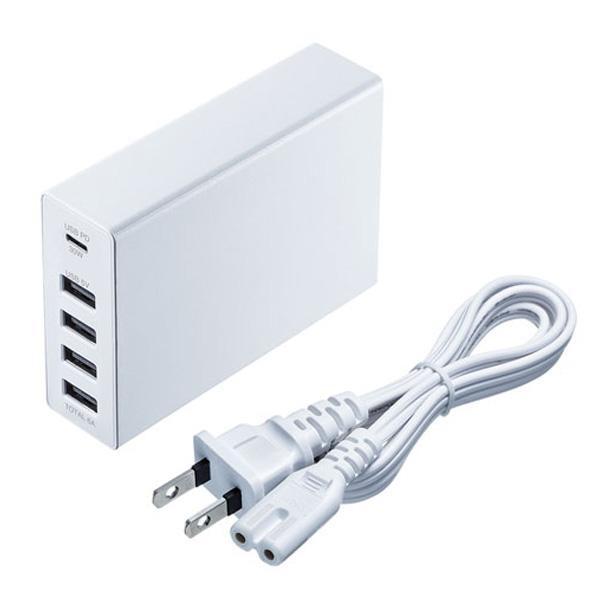ノートパソコンとスマートフォンなどを同時に充電可能 超人気 専門店 サンワサプライ USB Power Delivery対応AC充電器 合計60W 5ポート SALE開催中 ACA-PD57W ホワイト