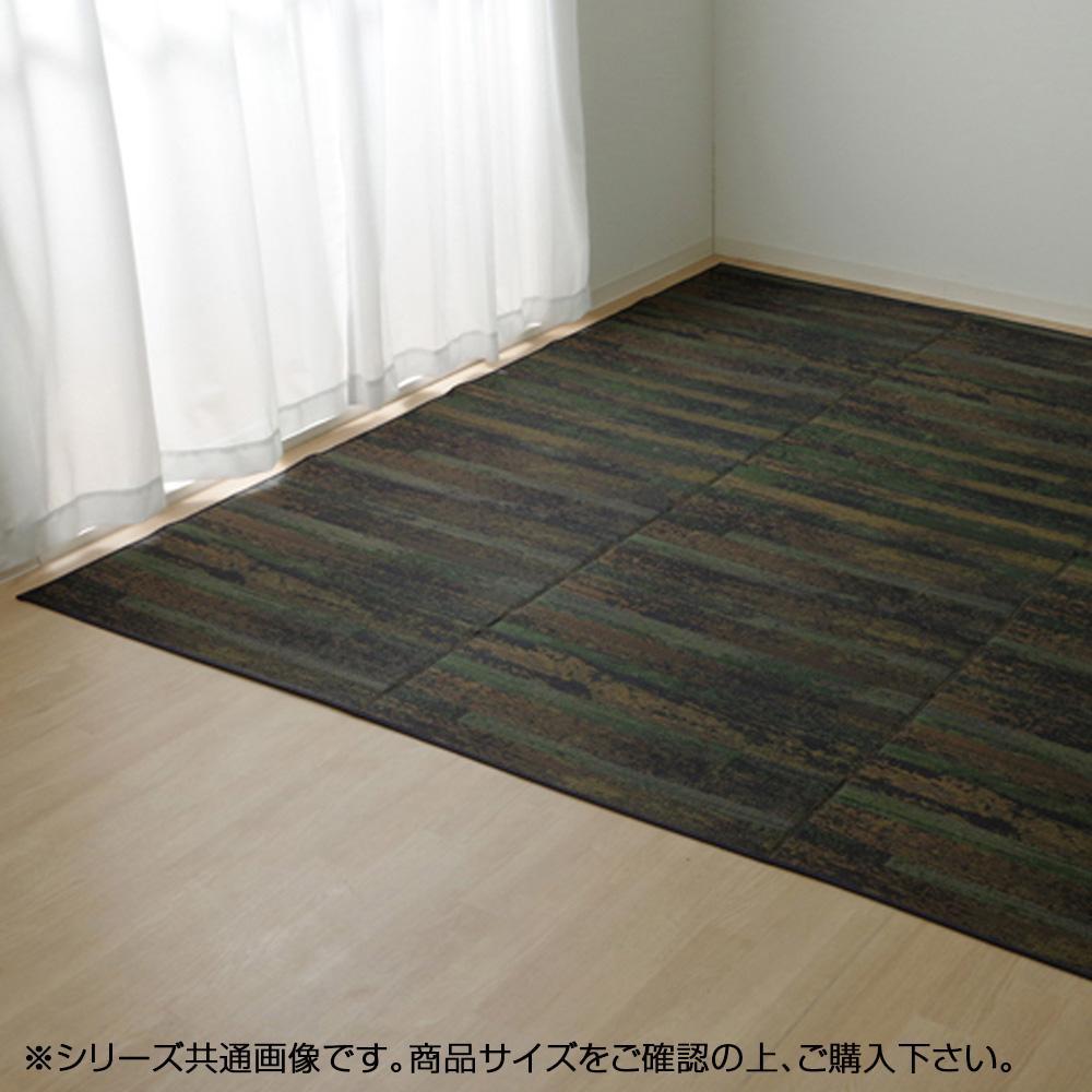 純国産 い草花ござカーペット 『カイン』 ブルー 江戸間6畳 約261×352cm 4132706