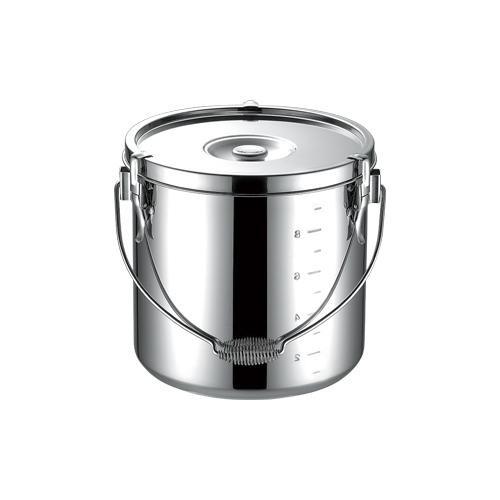 厨房・給食設備の運搬容器の定番。 18-8給食缶 30cm ツル付 007251-006