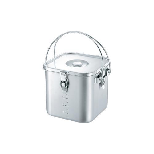 収納に優れた角型給食缶 19-0 IH対応角型給食缶 24cm 007715-024