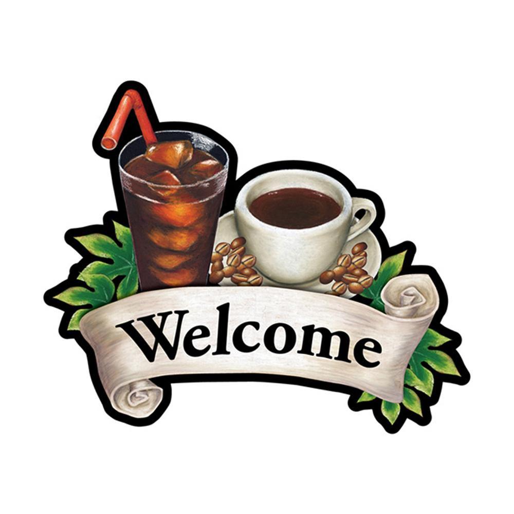 Pデコパネ デコレーションパネル 26895 Welcome コーヒー