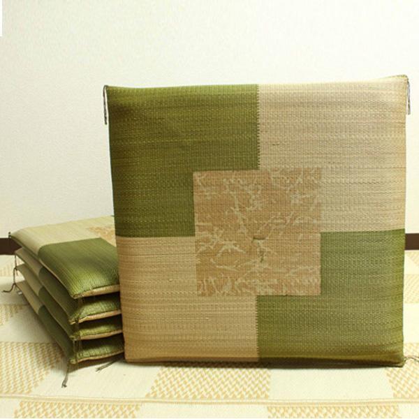 純国産 捺染返し い草座布団 草美 くさび 5枚組 グリーン 約55×55cm 3117650