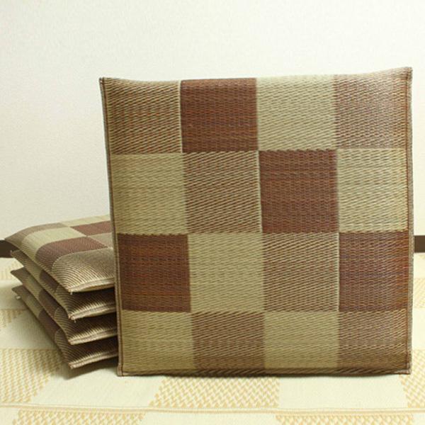 純国産 織込千鳥 い草座布団 ブロック 5枚組 ブラウン 約55×55cm 3128000